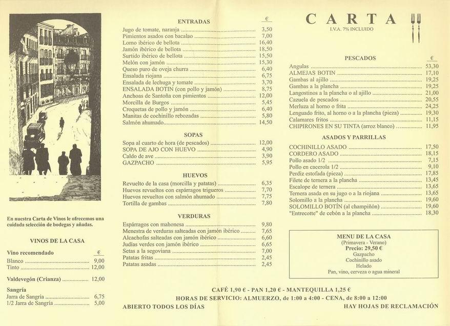 Restaurant Botin Menu Prices