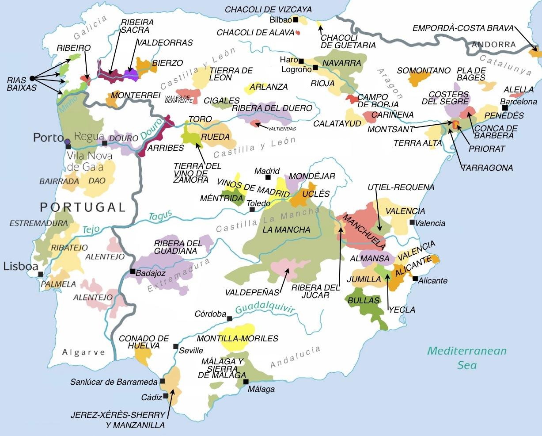 Map Of Spain Vineyards.Resources East Las Vegas Valley American Wine Society