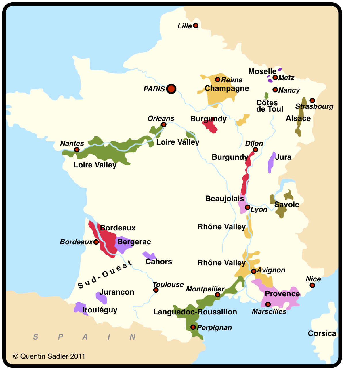 Wineries in france map for Champagne region in france