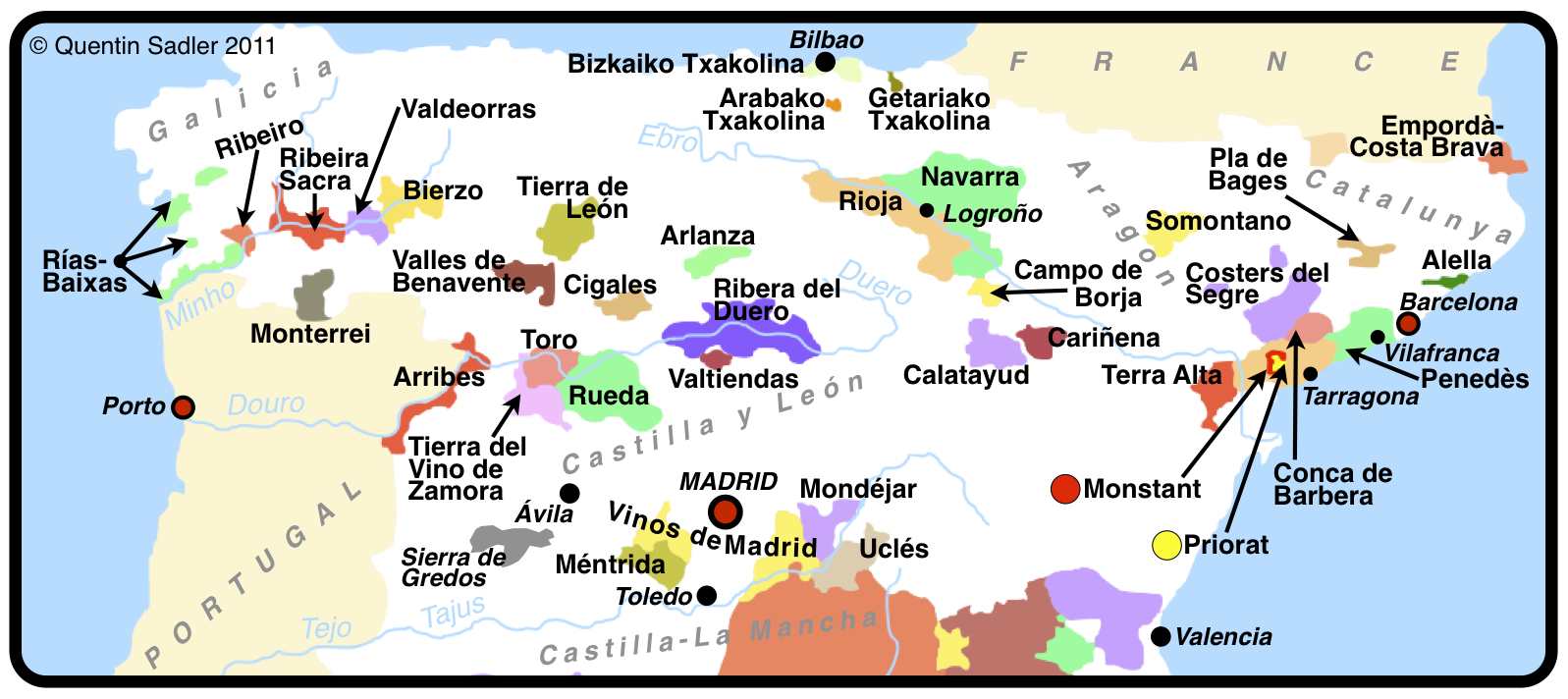 Map Of Northern Spain.Map Of Spain Quentin Sadler S Wine Page