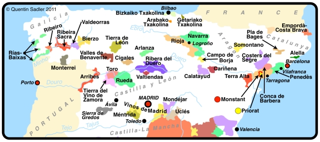 Wine regions of northern Spain - click for a larger view