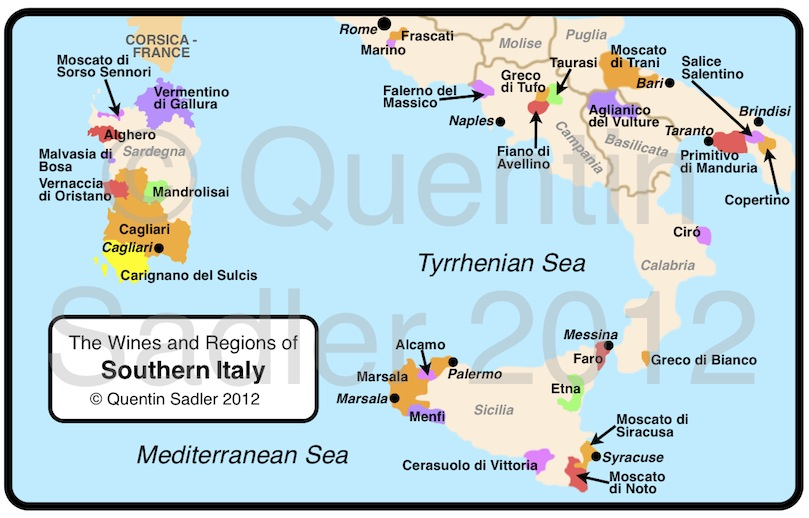 Map Of South Of Italy.Southern Italy An Eruption Of Terrific White Wines Quentin