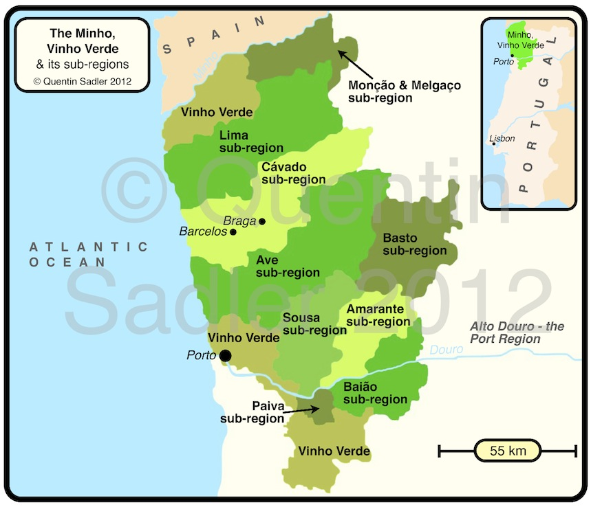Vinho Verde Lovely Wines And Not Always What Youd Expect - Portugal map minho