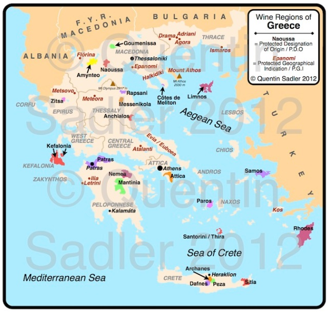 Map of Greece's Wine Regions - click for a larger view