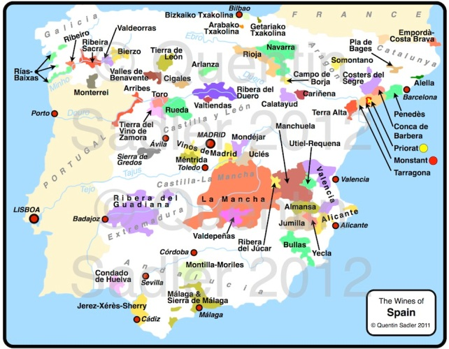 Wine map of Spain – click for a larger view – non watermarked PDF versions are available by agreement