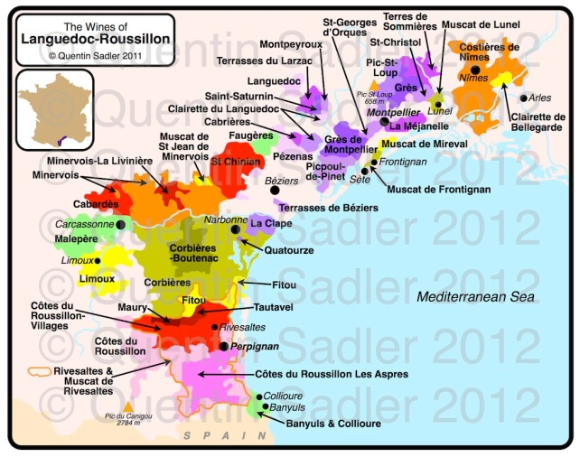 Map of the Languedoc-Roussillon region showing saint-Chinian just inland from Béziers. Click for a larger view - non watermarked PDF versions are available by agreement.