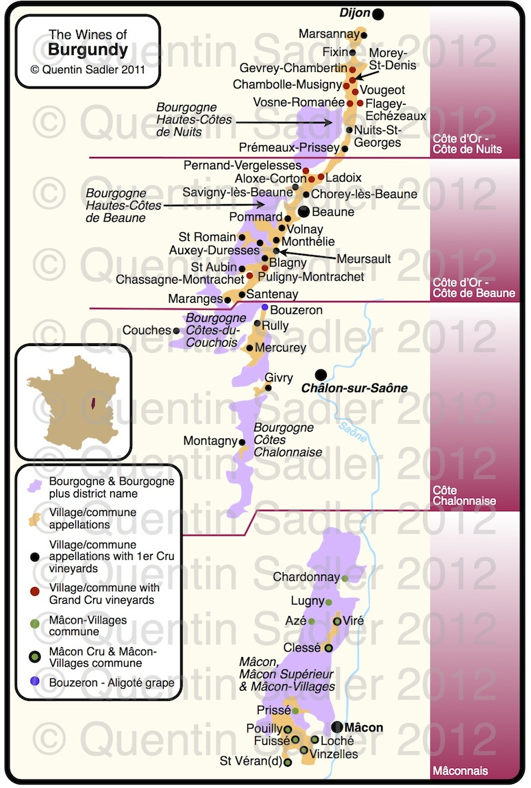 burgundy wine map quentin sadler s wine page