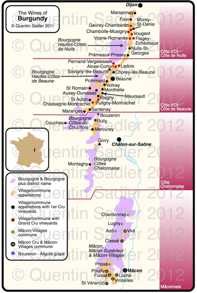 Map of Burgundy – click for a larger view – non watermarked PDF versions are available by agreement