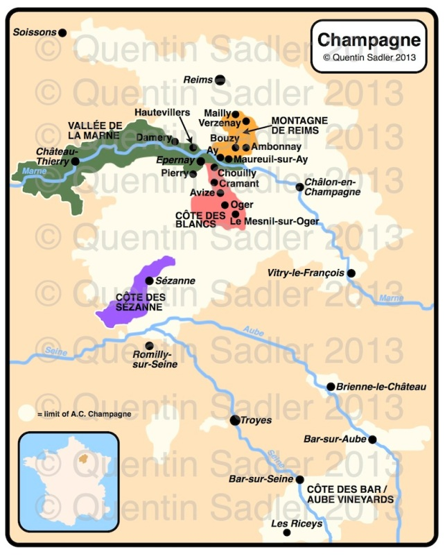 Map of Champagne – click for a larger view – non watermarked PDF versions are available by agreement