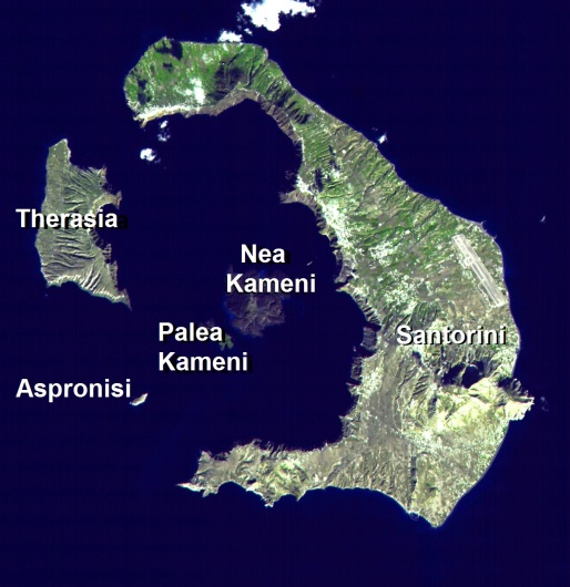 Satellite photograph of Santorini clearly showing that it is the lip of a volcano.