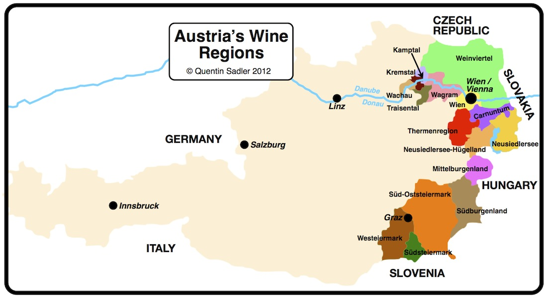 Rotgipfler Austrias Mystery Grape Quentin Sadlers Wine Page - Austria regions map