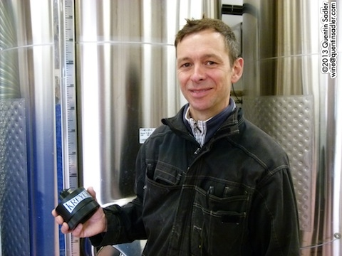 Simon in front of one of his large tanks with one of his carbon dioxide sensors that allows him to ferment his delicate white wines at 6-8˚C - he did explain it to me, but I don't seem to have really understood it!