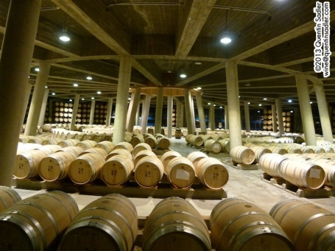 The dramatic barrel room at Viña Real.