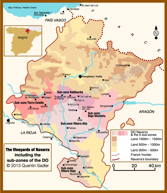 Map of Navarra – click for a larger view. High-res non-watermarked versions of my maps are available by agreement.