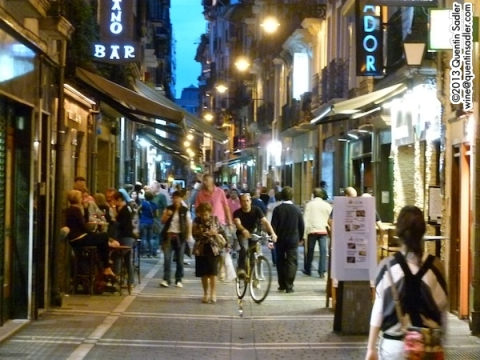The thronging streets of Pamplona.