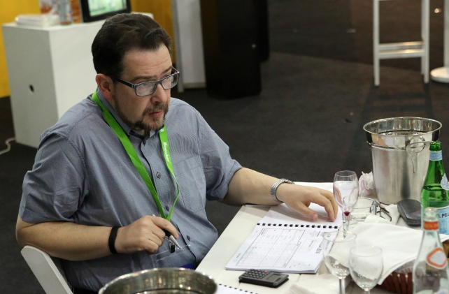 Me in a thoughtful moment during the wine judging at Horeca.