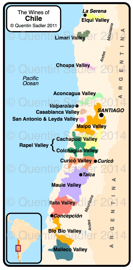 Map of Chile – click for a larger view – non watermarked PDF versions are available by agreement.