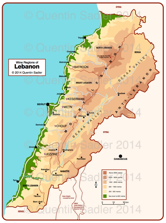 Map of Lebanon including the wine regions – click for a larger view – non watermarked PDF versions are available by agreement.