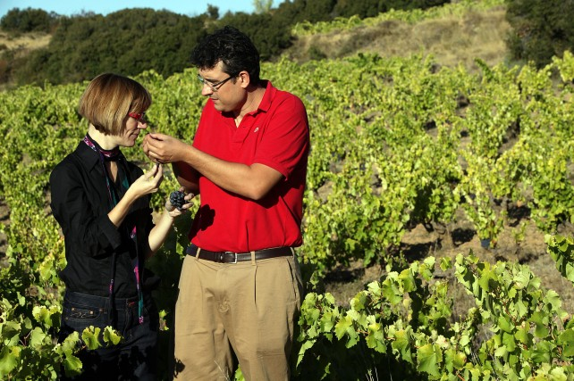 Elisa and Enrique in their vineyards.