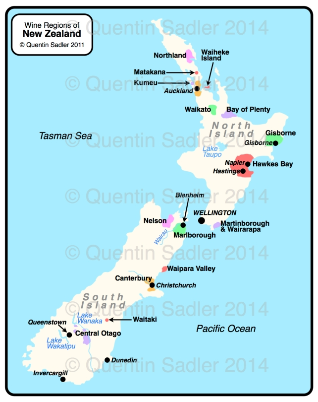 Map of New Zealand's wine regions – click for a larger view – non watermarked PDF versions are available by agreement.