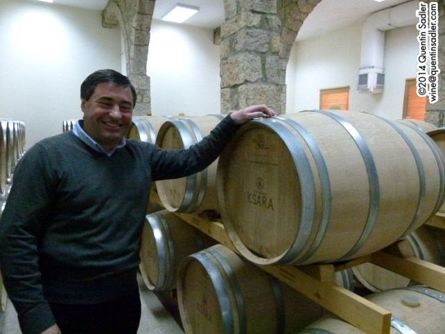 James Plagé with the barrels that give that touch of mocha to his Reserve du Couvent.