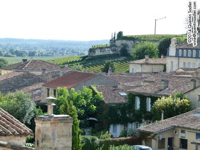 Saint-Émilion with vineyards in the background.