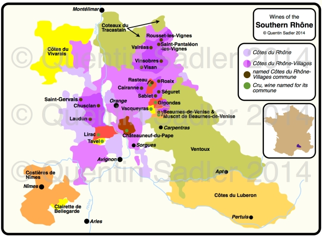 Wine map of the southern Rhône. Click for a larger view. High resolution non watermarked versions are available by agreement.