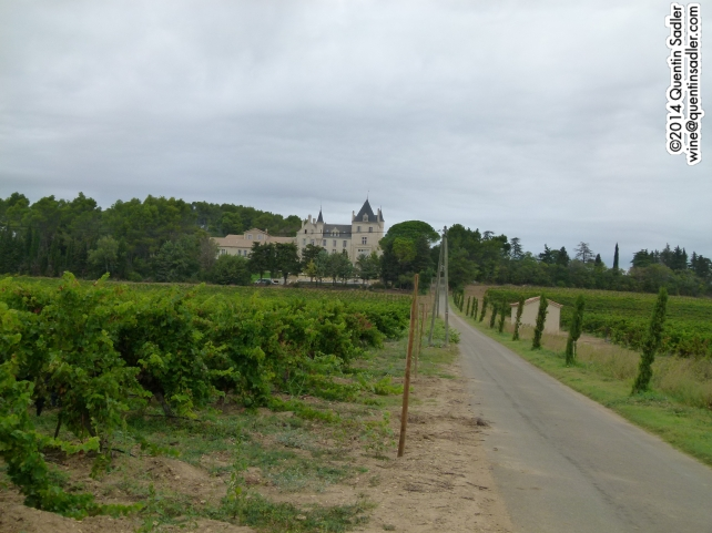 Chateau Les Carrasses nestling among the vines.