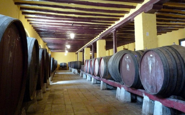 Capricho d'Goya ageing in old barrels - permission of the winery