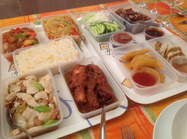 My Chinese New Year meal, not the most elegant in its little cartons, but it tasted really good.