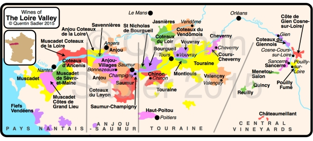 Wine map of the Loire Valley – click for a larger view – non watermarked PDF versions are available by agreement.