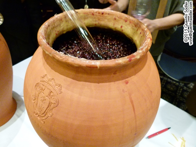 Villa Matilde's Amphora wine, the seal has just been broken and you can see the grape matter in the wine.