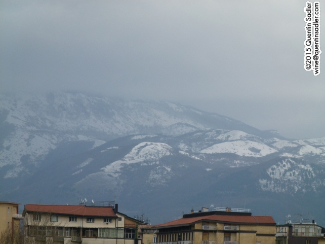 The view from my hotel in Avellino - it was bitterly cold.