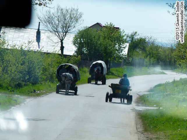 Romanian traffic in the countryside - taken through the windscreen of our coach.
