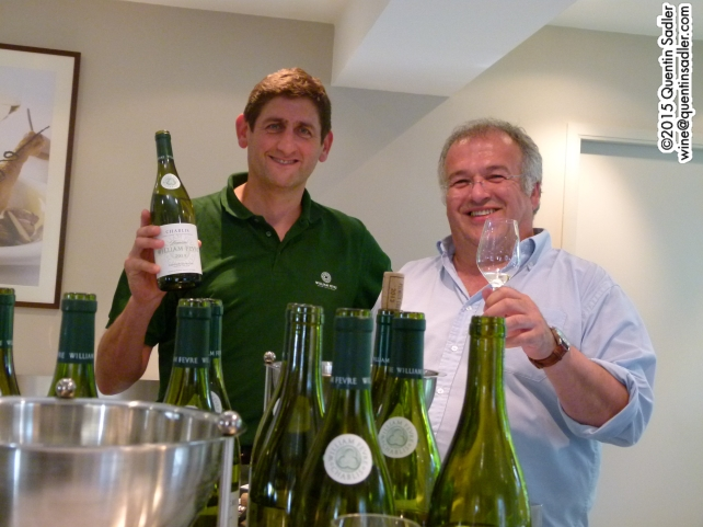 Didier Séguier (left) winemaker at William Fèvre. Alin Marcuello, hospitality manager is on the right.