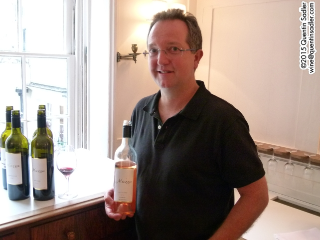 David Mazza showing me his wines at Berry Bros. & Rudd, London.
