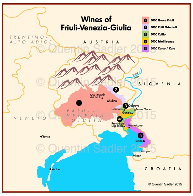 Sketch wine map of Friuli-Venezia-Guilia, click for a larger view.