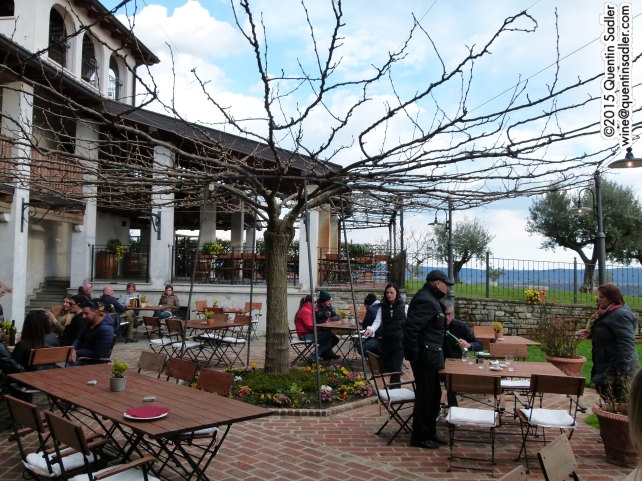 The lovely and popular terrace of the Belica Hotel in Brda.