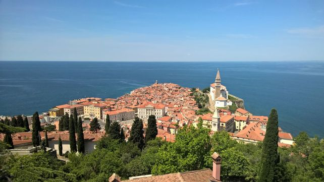 Piran looking out to sea.
