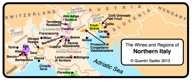 Map showing the wine regions of Northern Italy. Luana is just West of Verona on the shore of Lake Garda.