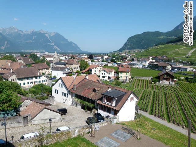 The view from the ramparts of Aigle castle.
