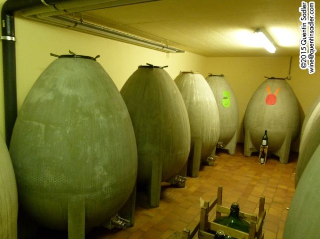 The concrete egg shaped tanks at Bernard Cavé Vins.