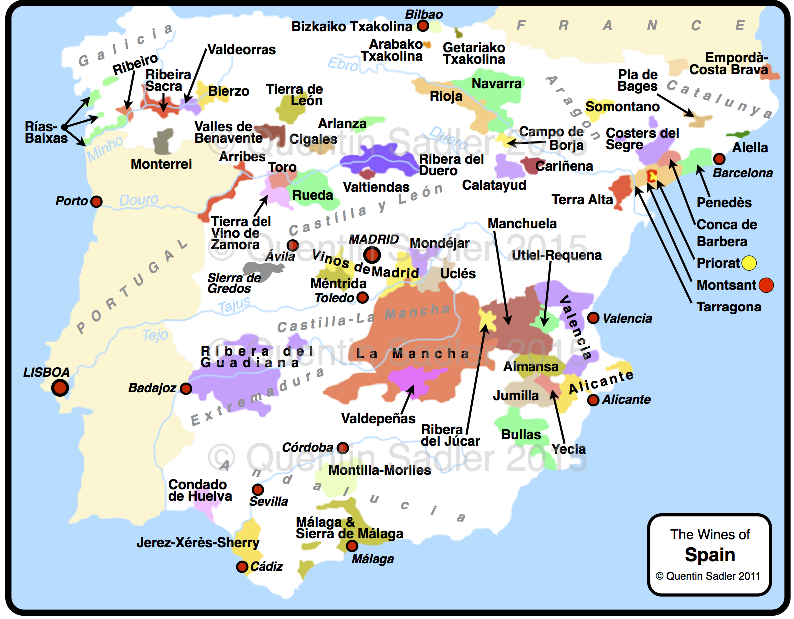 Wine map of Spain, ...