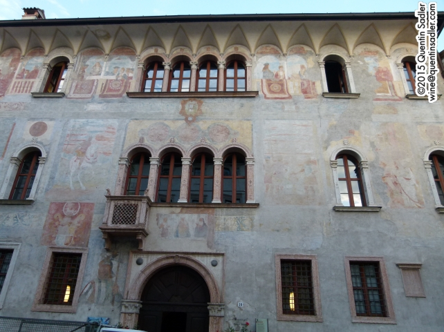 Some of the stunning painted buildings in Trento.