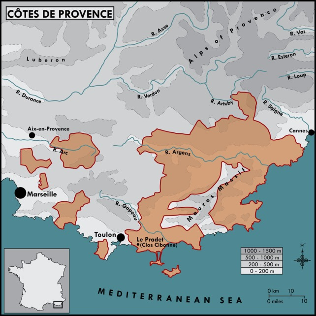 Côtes de Provence showing the location of Clos Cibonne - map courtesy of De Maison Selections.