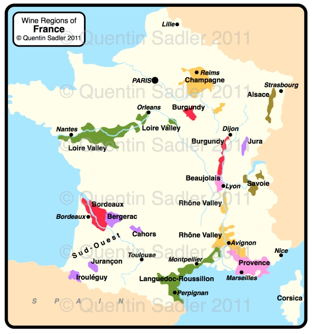 Wine map of France - Provence is on the eastern Mediterranean coast.