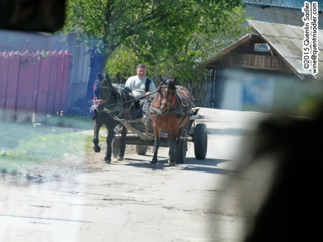 Typical traffic in rural Romania - snapped through the coach window.