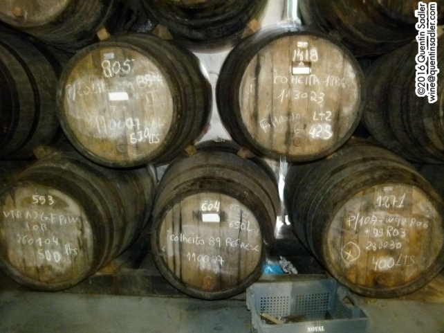 Tawnies and Colheitas (single vintage Tawnies) ageing in cask at Quinta do Noval.