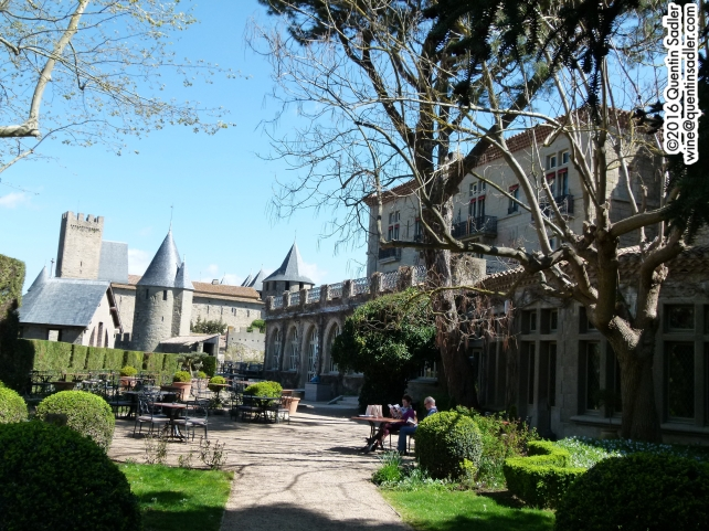 The garden of my hotel in Carcassonne - I have to pinch myself now I am back in blighty.