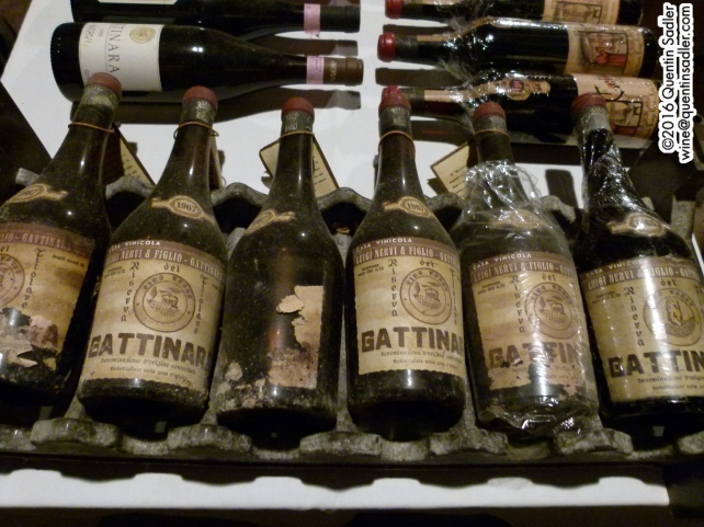 Old vintages in the cellar at Nervi - my birth year is far right and no, despite many hints they didn't open one.